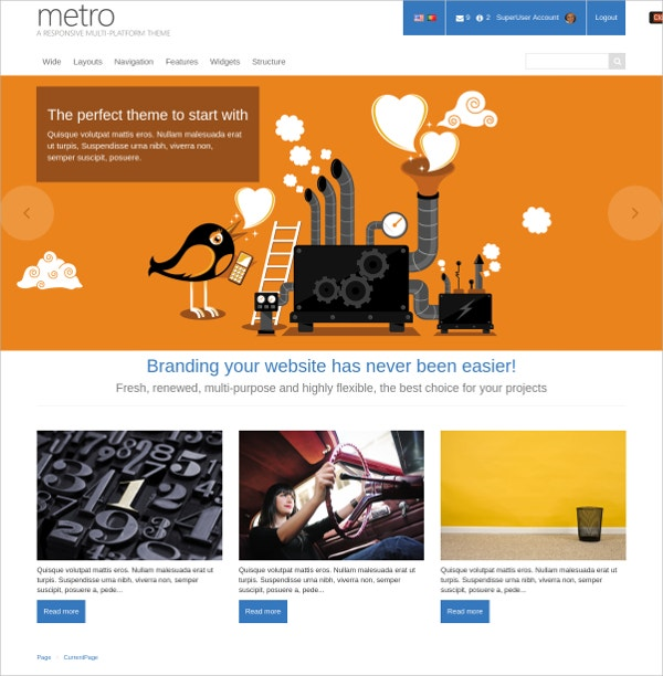 Amazing Metro Style Website Theme