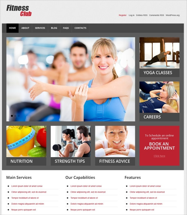 Fitness Club WordPress Website Theme $75