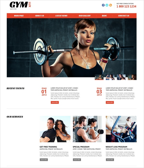 Marvelous Gym,Fitness Joomla Website Template $75  Fitness Templates Free