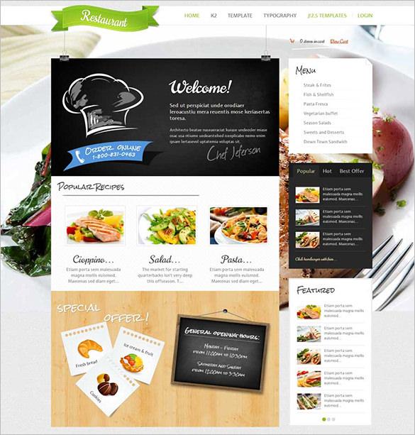 respomsive restaurant joomla theme