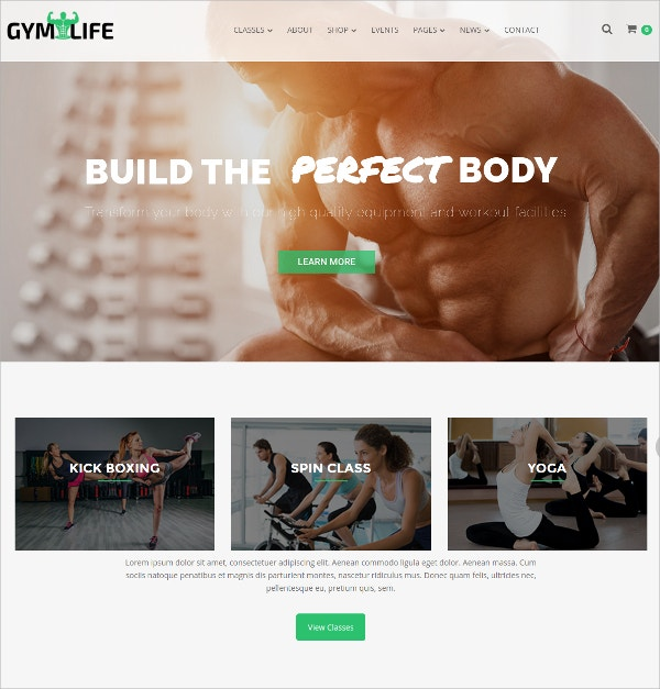 Gym & Fitness Training WordPress Website Theme $59