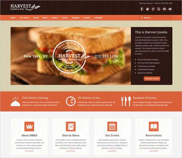 harvest restaurant food joomla theme1
