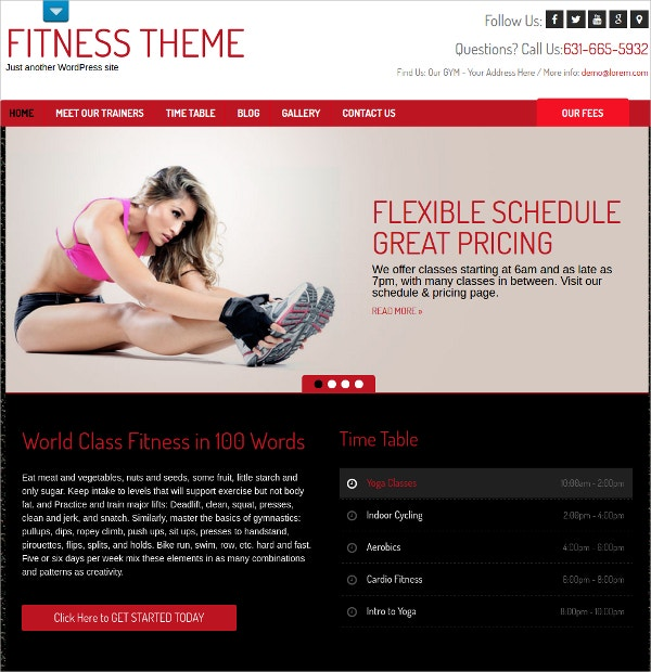 Premium Professional Fitness WordPress Theme $39