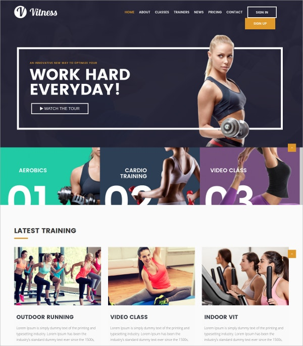 Gym & Aerobic Fitness WP Website Theme $35