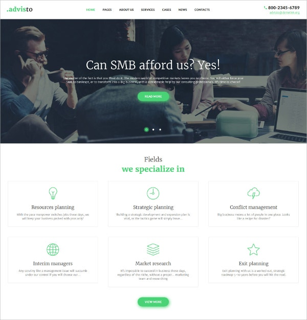 Financial Advisor & Business WordPress Website Theme $75