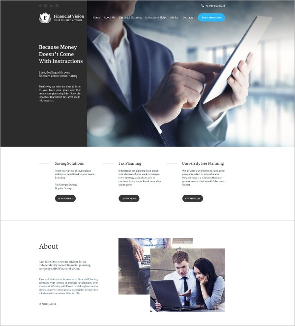 Financial Advisor Website Template $75