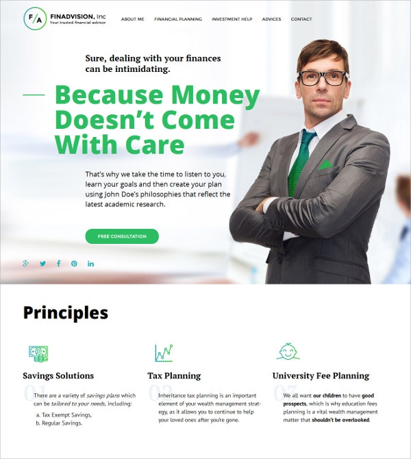 Responsive Financial Advisor WordPress Theme $75