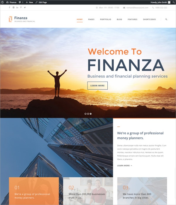 Financial Investment WordPress Website Theme $59