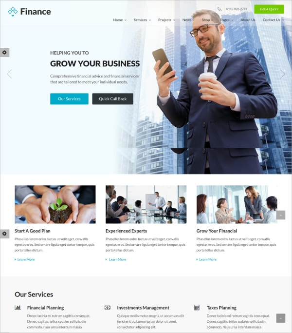 Financial Insurance HTML5 Website Template $18