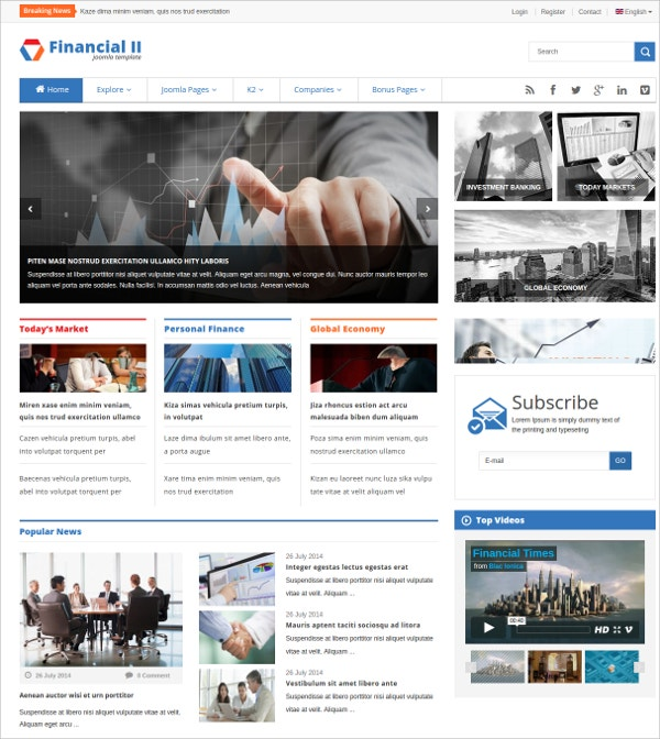 Responsive Financial News Joomla Website Theme $48
