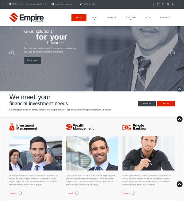 Responsive Financial Investment WordPress Website Theme $39