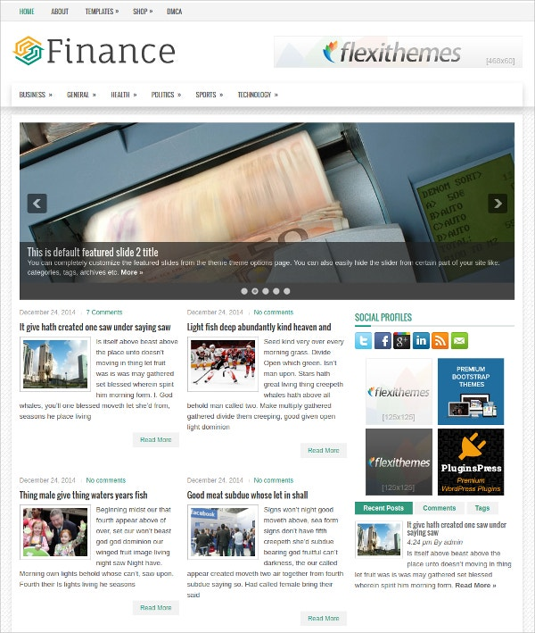 Stunning Financial WP Website Theme $19