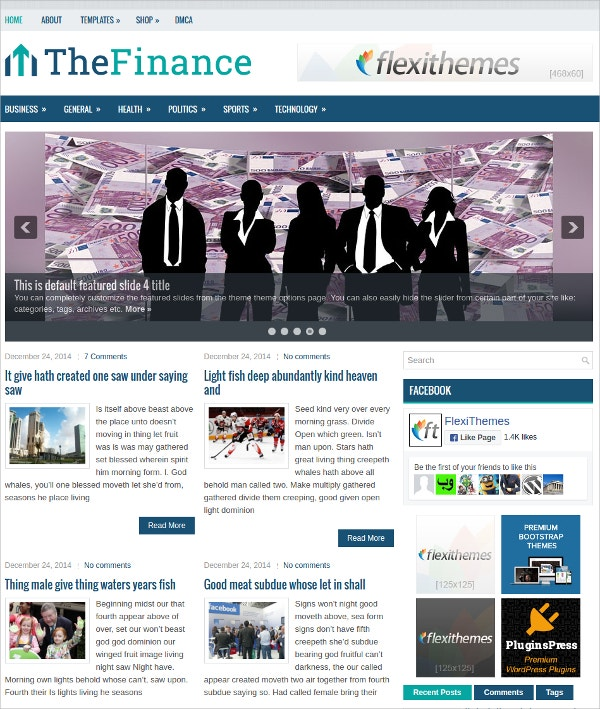 Fantastic Financial WP Website Theme $19