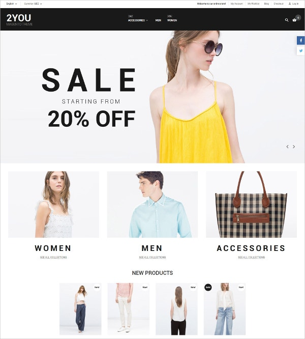 Stylish eCommerce Website Magento Theme $179