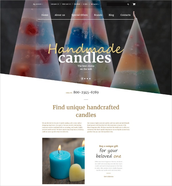 Handmade Candles eCommerce OpenCart Website Template $89