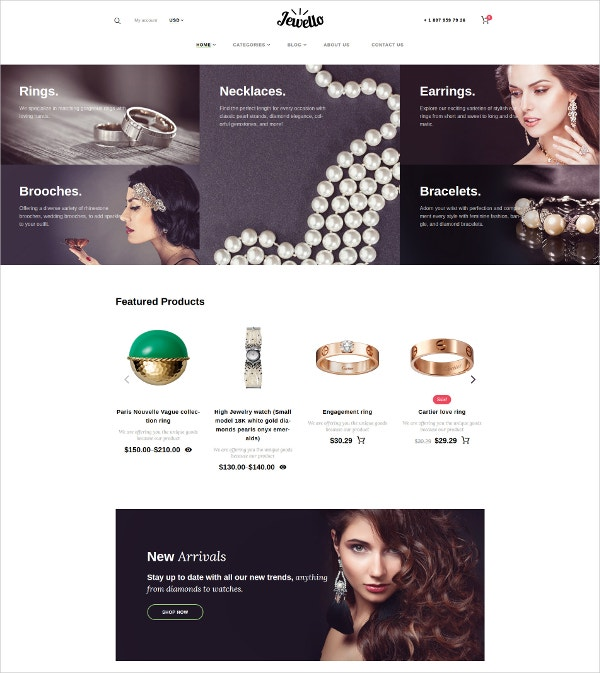 Jewellry eCommerec Website WooCommerce Theme $70