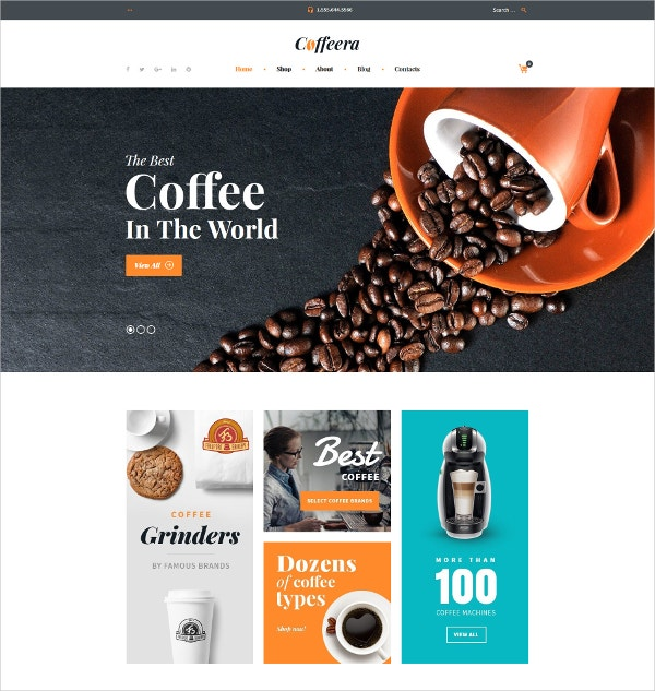 Coffee eCommerce Website WooCommerce Theme $70