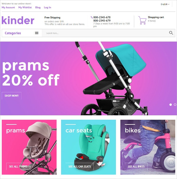 Kids eCommerce Magento Website Theme $179