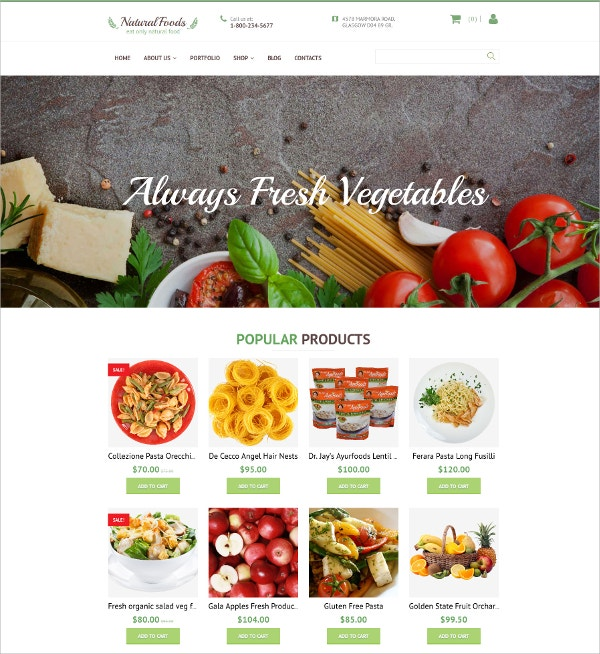 Fresh Vegetables Responsive Shop Website Template $199