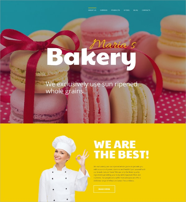 Bakery Responsive Shop Website Template $199