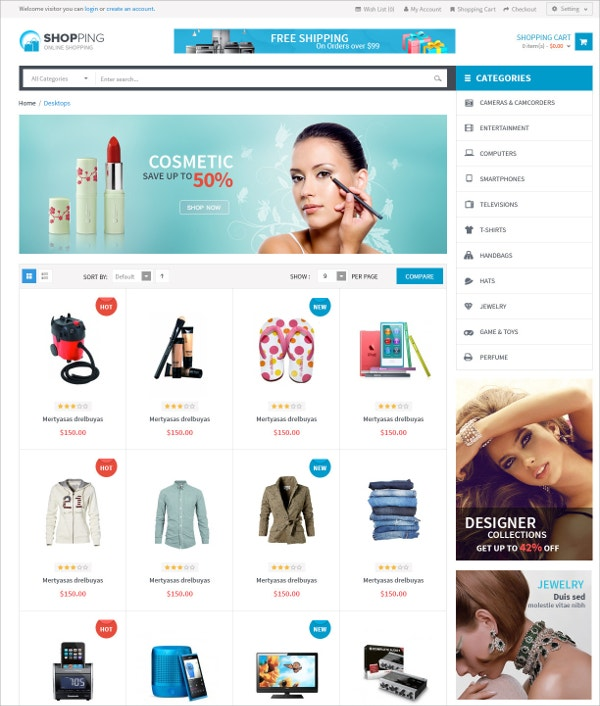 Shopping Responsive WordPress Website Theme $59