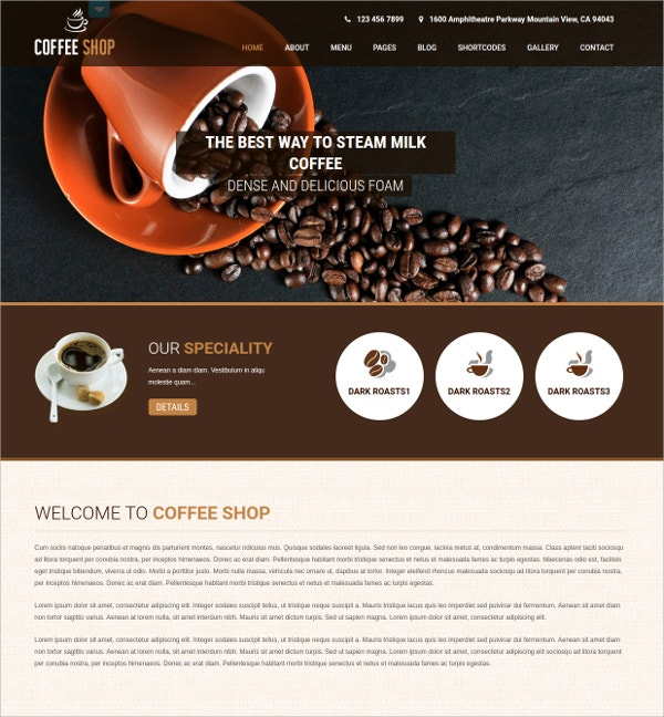 Coffee Responsive Shop WP Website Theme