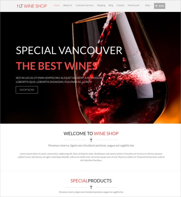Free Responsive Wine Shop Website Theme
