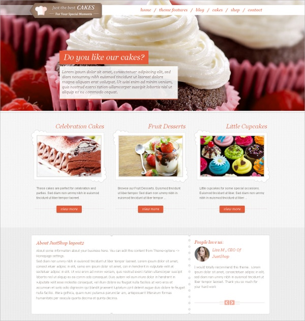 Cakes & Icecreams Catalog WordPress Theme $59