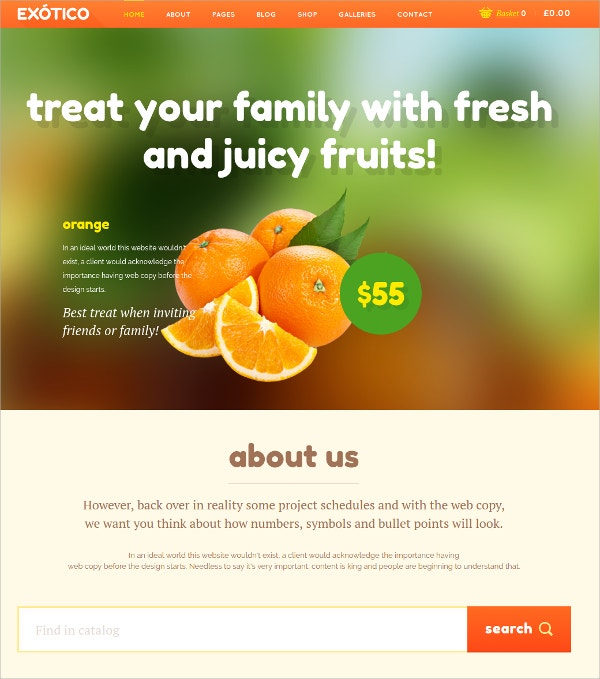 Fruits & Jucies Catalog Responsive WordPress Theme $59