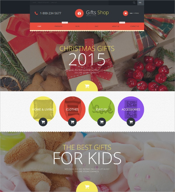 Christmas Gifts Shop Website Theme $139