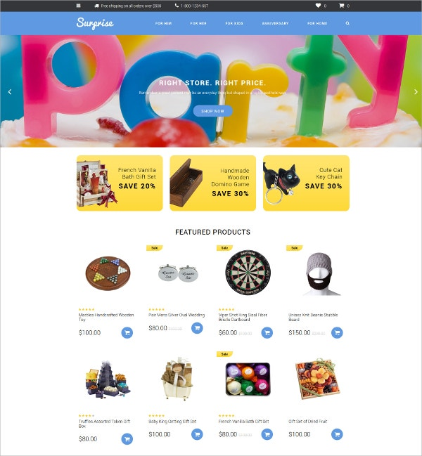 Surprise GIfts Shop OpenCart Website Template $89