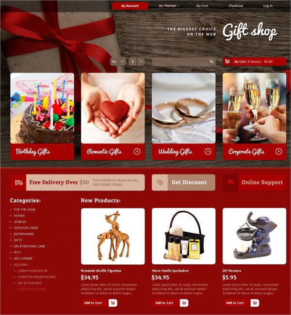 Biggest Gifts Store Website Template $139