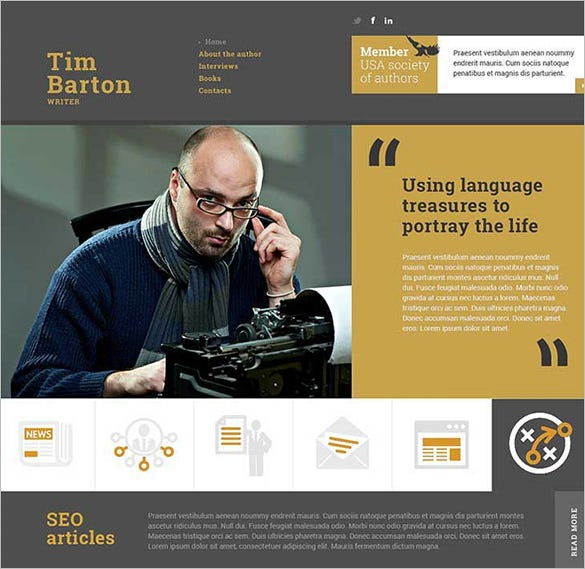 Website Templates For Authors. 66 free responsive html5 css3 ...