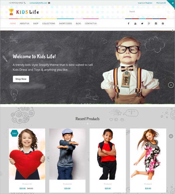 Stylish Kids Store Responsive Shopify Website Theme $56