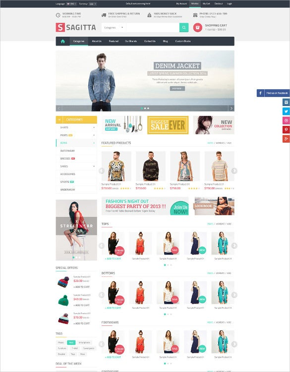 mega clothe store responsive magento theme
