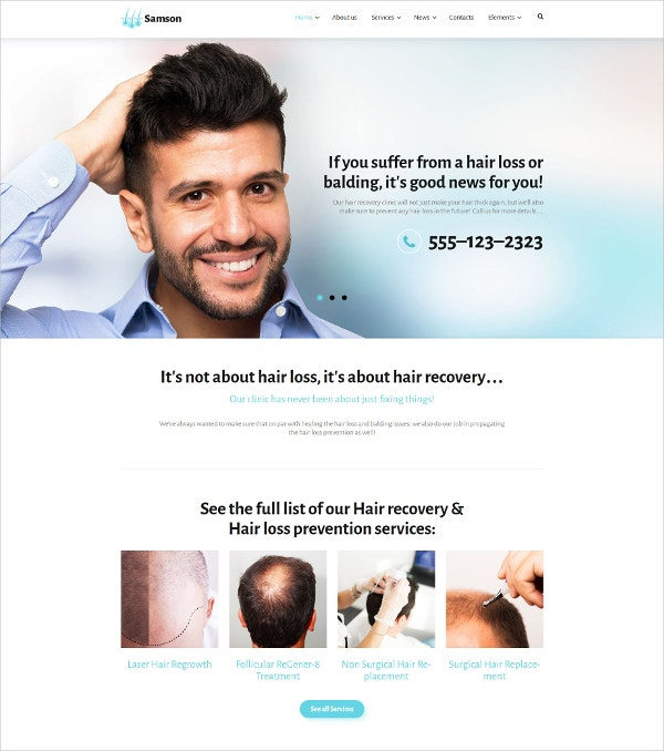 Medical Treatment WordPress Blog Theme for Hair Loss $53