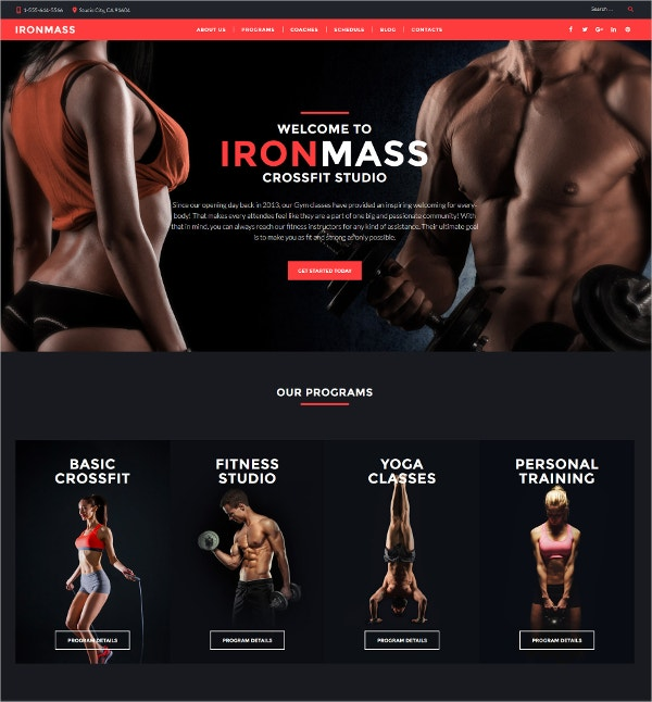 Fitness, Gym WordPress Blog Theme $53