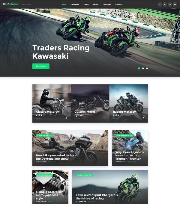 Bike Racing WordPress Blog Theme $32