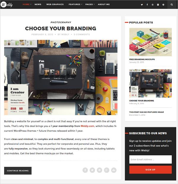 Minimal Design WordPress Blog Theme $39