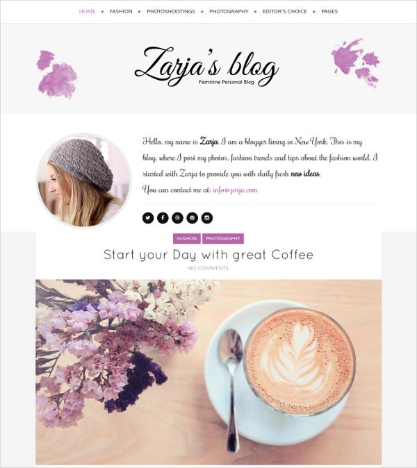Feminine Portfolio WordPress Blog Theme $44