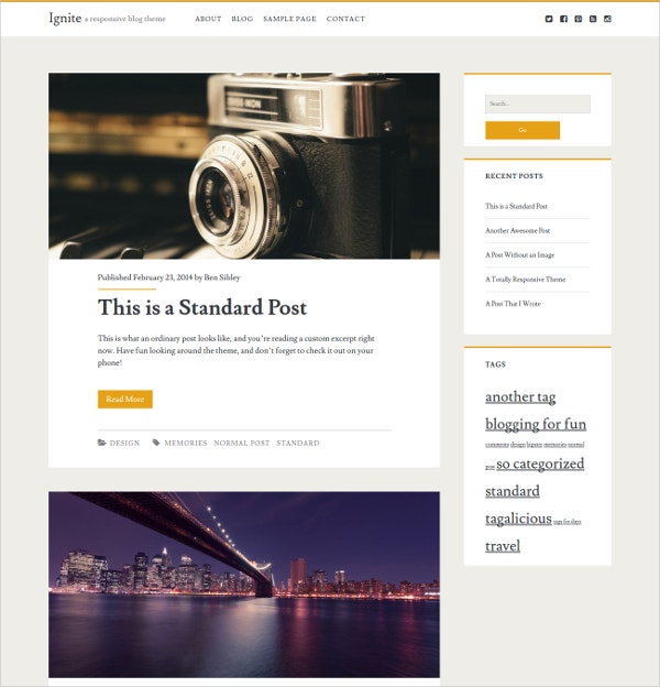 free wordpress blog theme for business