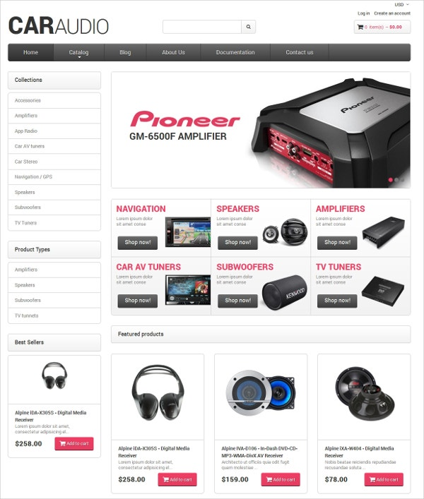 Audio & Music Amplifiers Responsive Shopify Theme $97