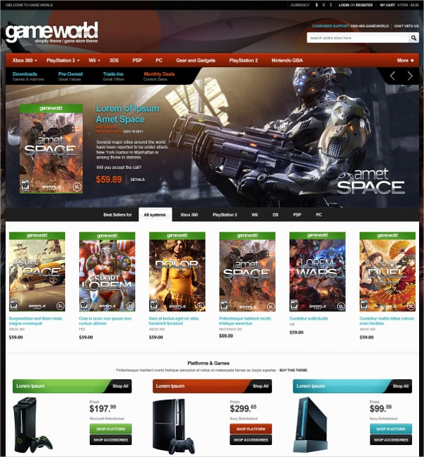 Multipurpose Game Store Shopify Theme $56