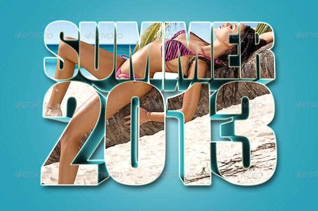 3d summer text photo template