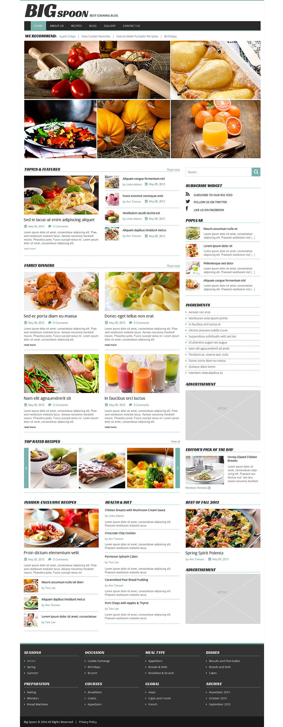 Cooking WordPress Themes