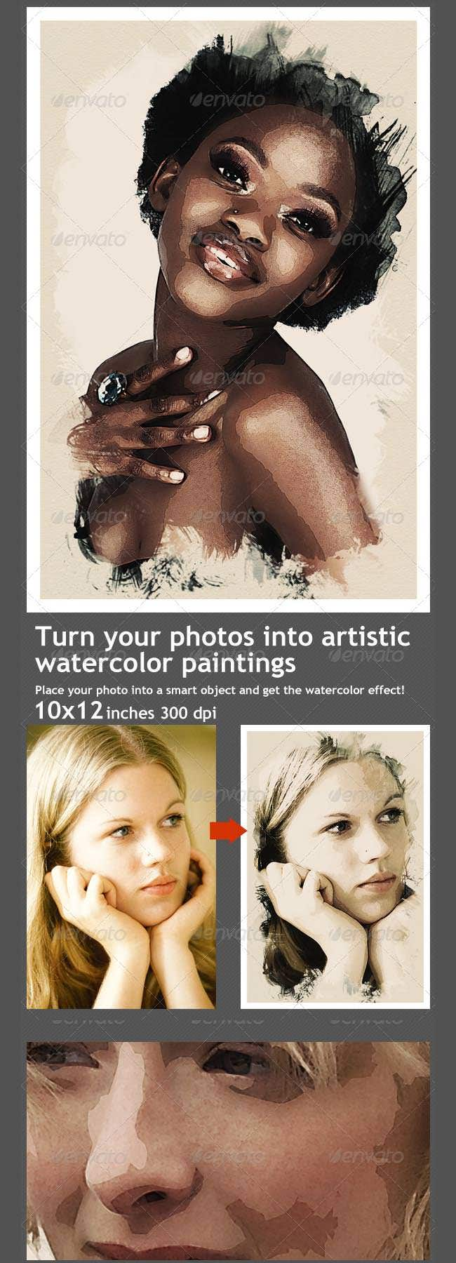 artistic watercolor portrait creation