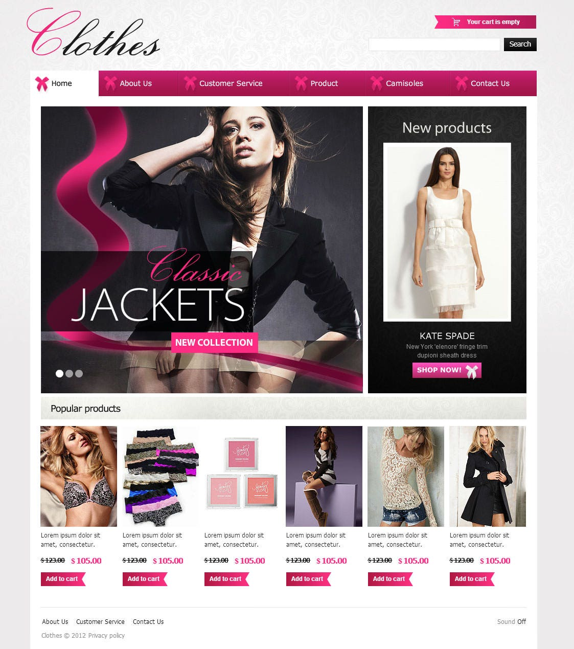 Fashionable Clothes Flash CMS Template