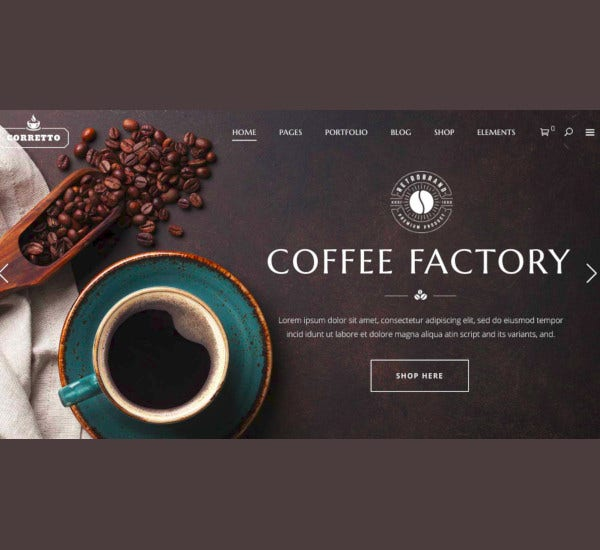 corretto coffee cafe website theme