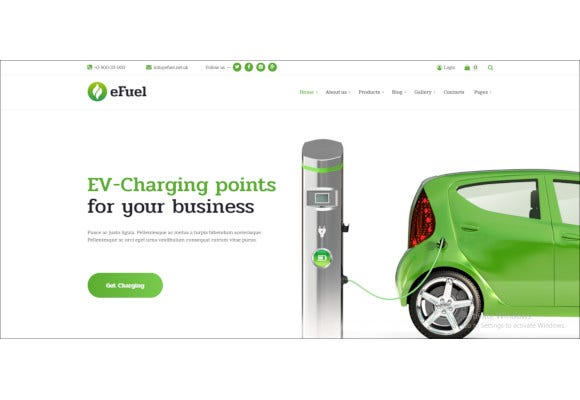 electric car rental ev charging wordpress theme