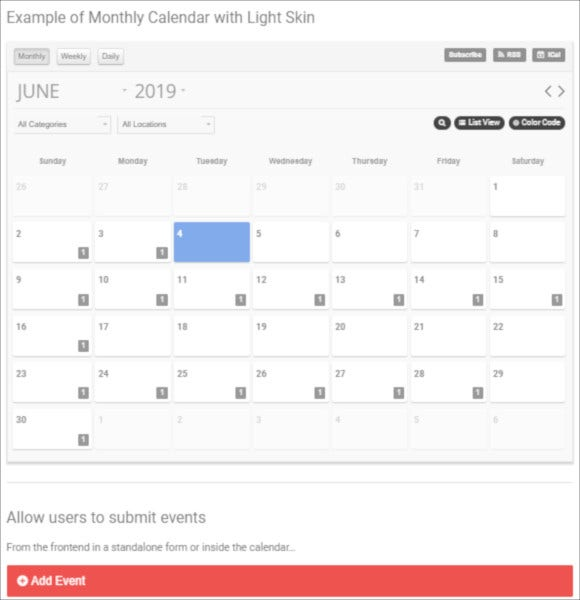 event calendar wordpress